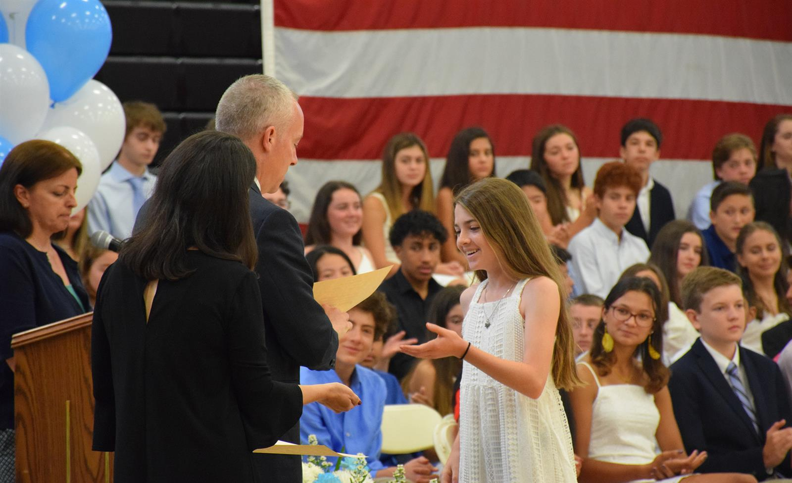 Eighth Graders Celebrate Milestone in Moving-Up Ceremony